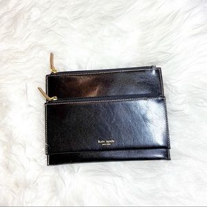 Kate Spade Zip Pouches 2 in 1 Black Leather NWOT